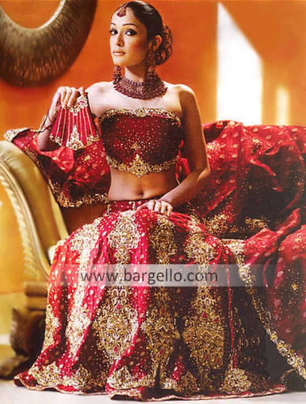 Maroon Hand Embellished Bridal Lehenga, Bustier and Veil