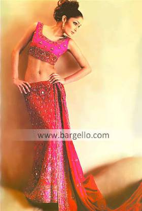 Red Crespino Heavy Embellished Bridal Skirt Trousseau