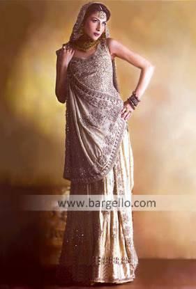 Silver Madera Heavily Embellished Zardosi Lehenga and Veil Dress