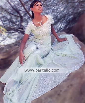 Mint Green Gharara dress for engagement, bridesmaid or prom