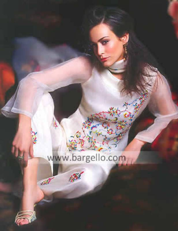 Organza Trouser Suit, Embroidered Salwar Kameez