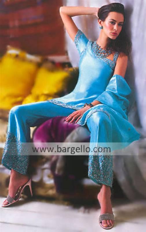 Blue Raw Silk Shalwar Kameez, Pakistani Party Wear