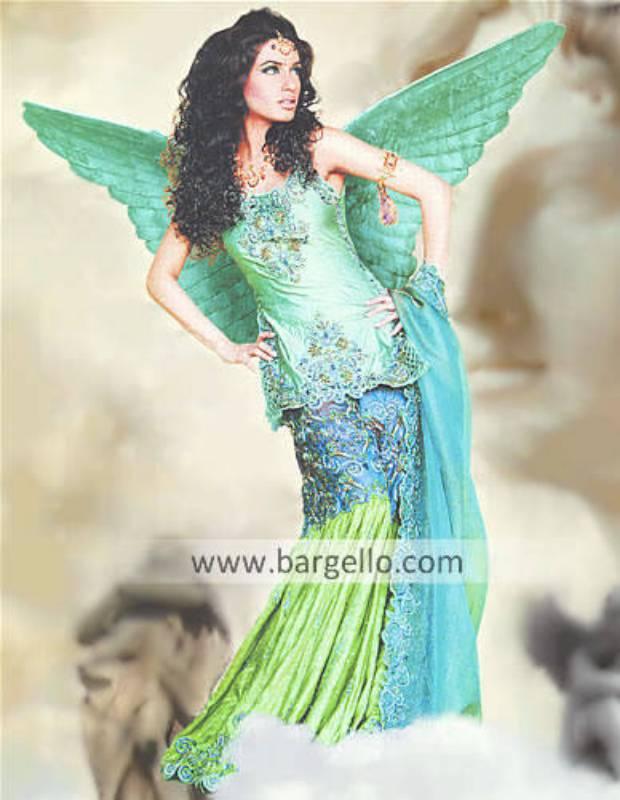 Green Angelic Skirt Lehenga with Scalloped Work