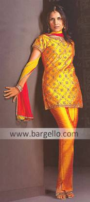 Golden Rawsilk Suit, Designer Shalwar Kameez