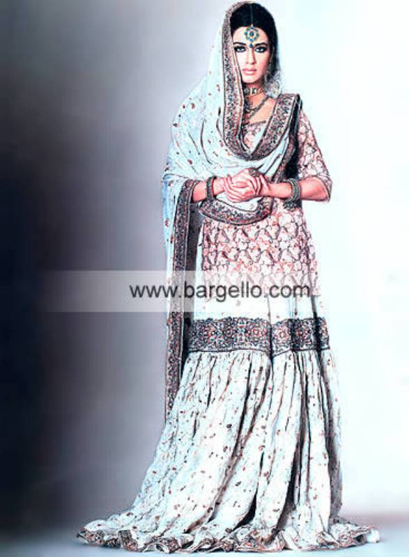 Pale Turquoise Eastern Traditional Gharara and Veil