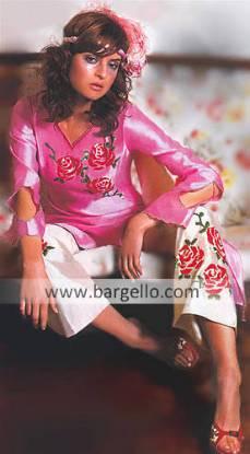 Pink Raw Silk Shalwar Kameez, Pakistani Dresses