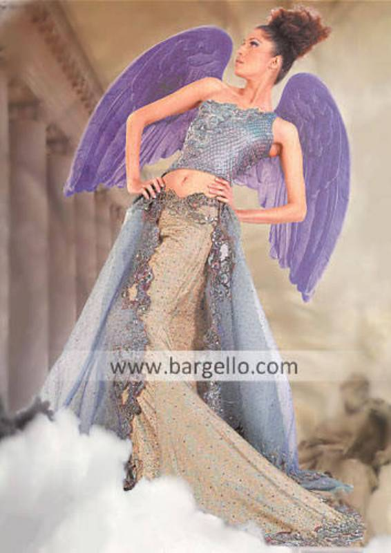 Indigo Angelic Bridal Skirt with train and heavy embellished dupatta