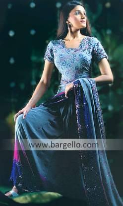 Azzurro Steel Blue Lehenga Skirt Bridal Trousseau Dress