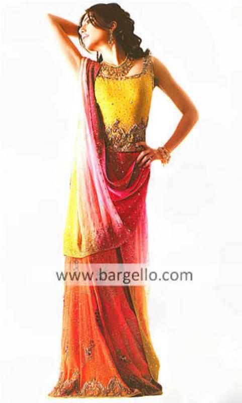 Pastel Yellow, Pink, Orange Heavily Embellished Bridal