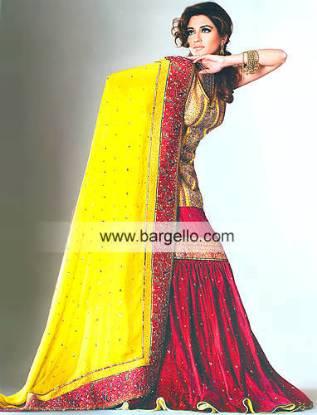 Deep Red Bridal Dress for Mehandi Henna Hina Mayoon