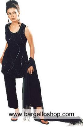 Pakistani Party Wear, Black Georgette Trouser Suit