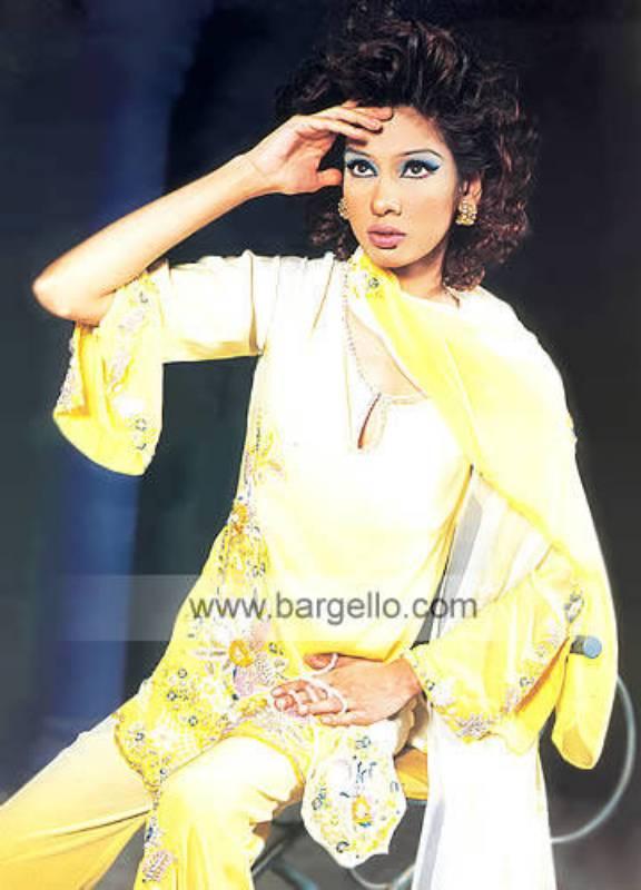 Yellow chiffon hand embellished beaded party dress