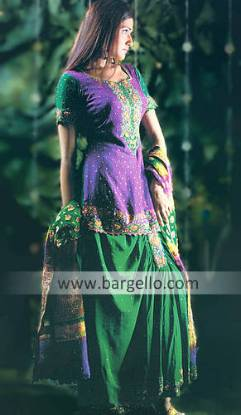 Bosque Forest Green Lehenga Skirt, Top and Embellished Veil