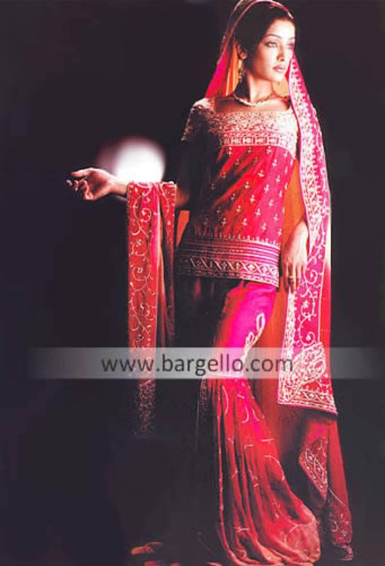 Deep Hot Pink Gharara, Blouse and Veil Bridal Dress