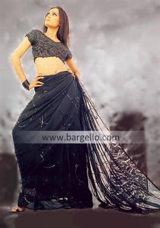 Chiffon Designer Sari & Blouse, Embroidered