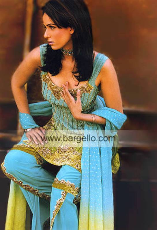 Ocean Turquoise Crepe Silk Heavily Embellished Dress