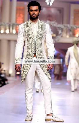 Indo Western Style White Embroidered Sherwani For Mens Houston Texas TX USA