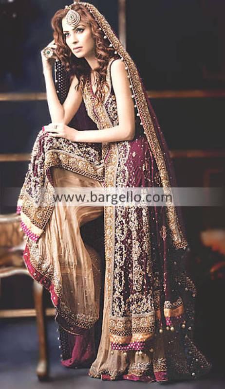 Beautiful Stylish Indian Chiffon Sharara Designs and Bridal Outfits Dallas Texas