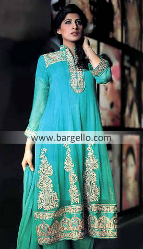 Designer Pishwas Style Dress Fremont, Sea Green Chiffon Anarkali Northridge, Chiffon Anarkali Kansas