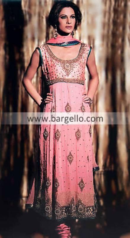 Pink Anarkali Outfit, Crinkle Chiffon Anarkali Dress, Chiffon Anaraki Pishwas Pakistan India