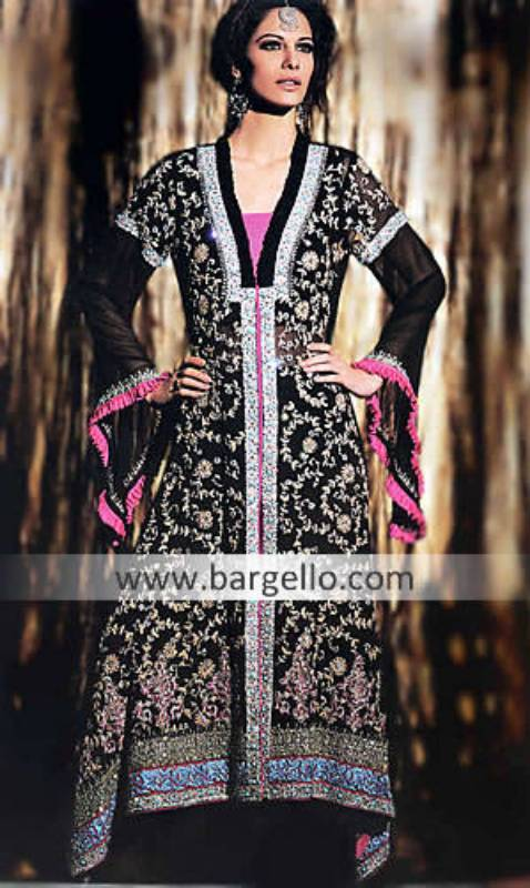 Dipped Hem Evening Party Outfits Pakistan India, Designer Outfits Pakistan with Dipped Hem