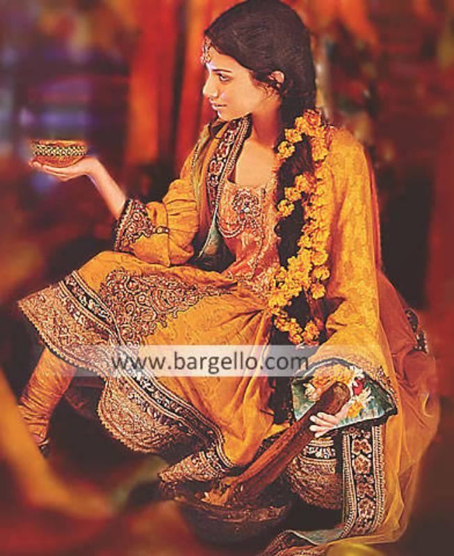 Mehendi Anarkali Designs, Anarkali Dresses For Mehendi Function, Mehndi Color Anarkali Outfits