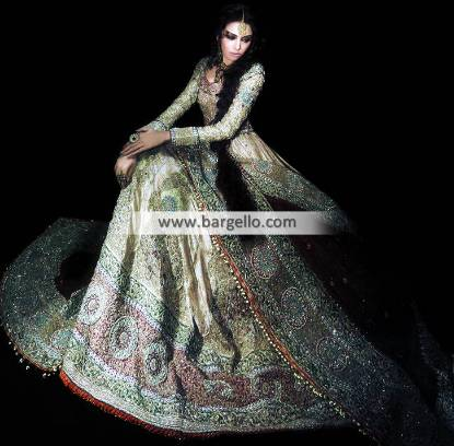 Anarkali Bridal Wear, Anarkali Bridal Dresses Pakistan, Off White Designer Bridal Anarkali
