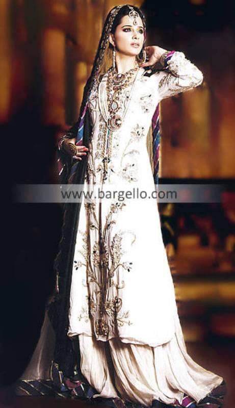 Pakistani Sharara, Pakistani Embroidered Sharara, Pakistani Embellished Sharara, White Party Outfit
