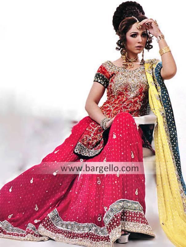 Red Pink Crinkle Chiffon Sharara, Red Pink Chiffon Bridal Outfit Dress, Red Pink Chiffon Bridals