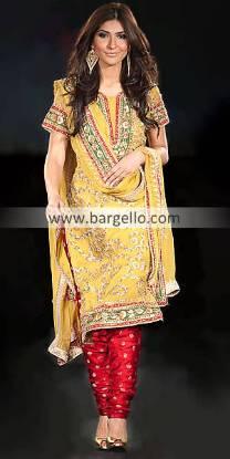 Yellow Indian Pakistani Outfits, Beautiful Yellow Dresses For Mehndi Weddings, Mehndi Dress Designs