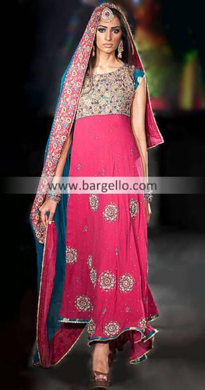 Pink Anarkali Suit, Latest Pakistani Stylish Shocking Pink Anarkali Outfit, Buy Pink Anarkali Online