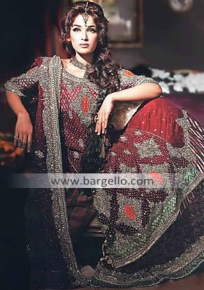 Designer Chiffon Jamawar Bridal, Chiffon Jamavaar Bridal Outfit Pakistan, Pakistani Chiffon Dresses