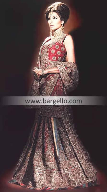 Bridal Dresses Pakistan, Bridal Dress Pakistani, Red Jamawar Lehenga Lengha