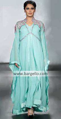 Double Layered Pakistani Indian Suits, Double Layered Outfits Pakistan, Chiffon Floor Length Dresses