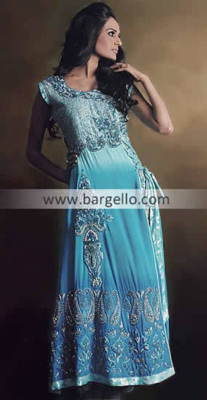 Heavy Anarkali Suits, Two colored Anarkali, Dip Dyed Anarkali Suit, Blue Anarkali Churidar Dress
