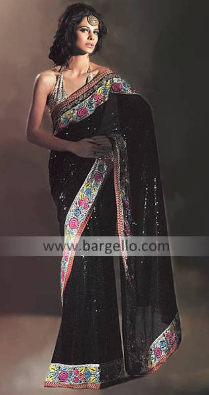 Bollywood Bridal Sari, Bridal Saree Bollywood, Black Embellished Sari Saree, UK Saree