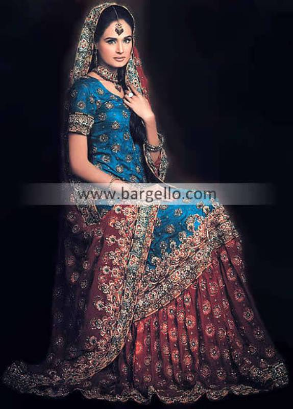 Asian Wedding Lengha Sharara, Sharara Online, Embroidered Sharara, Jamawar Chiffon Sharara
