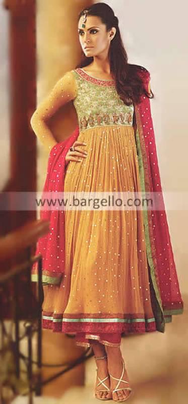 Anarkali Dresses Online Shopping, Anarkali Wedding Suits, Yellow Anarkali, Colorful Anarkali Pishwas