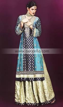Party Dress India, Long Gown, Long Qameez and Flared Trouser, Banarsi Jamawar Suits India Pakistani