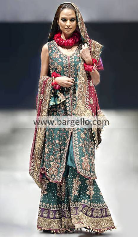 Sharara Collection, Pakistani Bridal Sharara, Green Bridal Sharara Lehenga, Pakistan Bridal Clothing