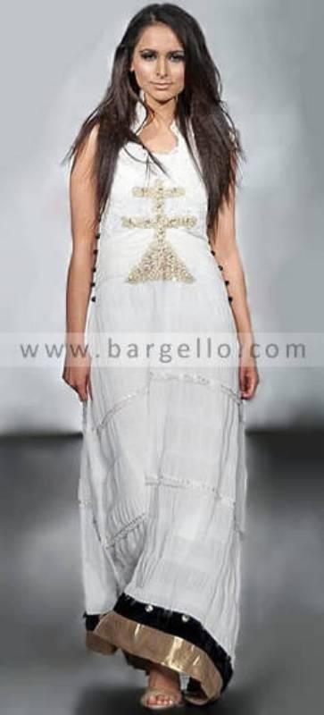 Pakistani Wedding Gown, Offwhite Chiffon Shirt India Pakistan, Chiffon Maxi Dress India Pakistan