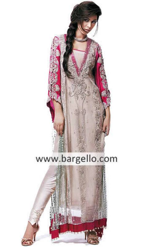 Pink Chiffon Anarkali Dress, Pakistani Pishwas, Indian Pishwas, Anarkali Trouser Suits UK