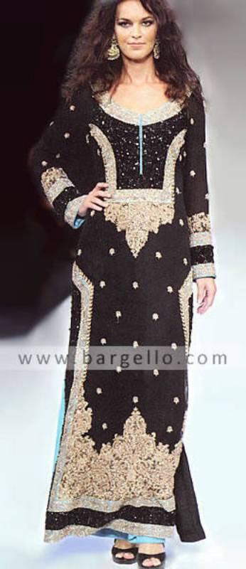 Black Long Embellished Shirt India Pakistan, Black Designer Outfits Pakistan India UK USA Australia