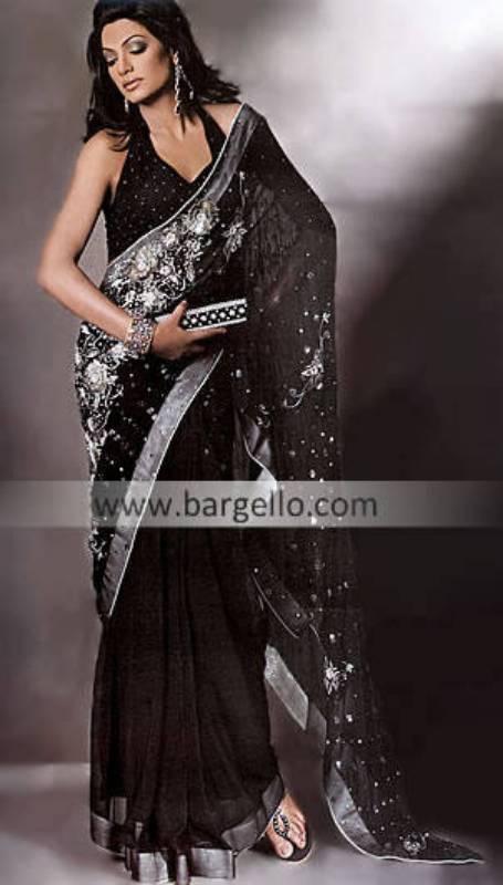 Black Traditional Chiffon Sari having Embroidery all over