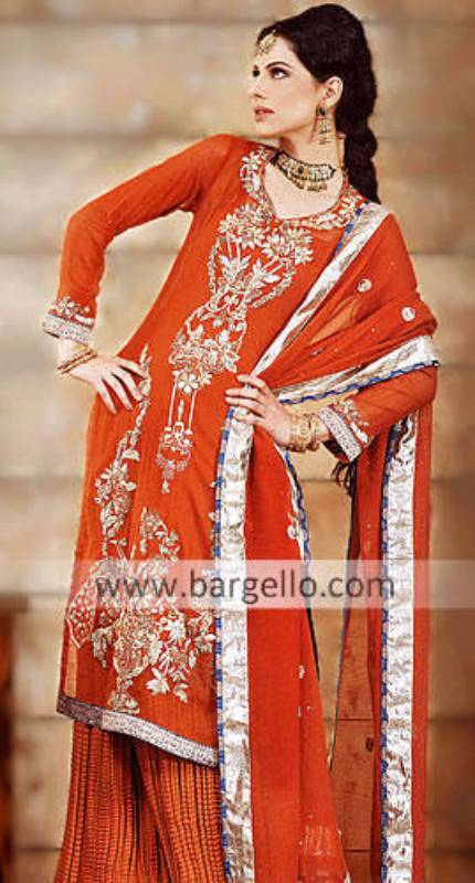 Orange Shalwar Kameez England Online Orange Dresses England UK Orange Shirt Lehenga Sharara Gharara