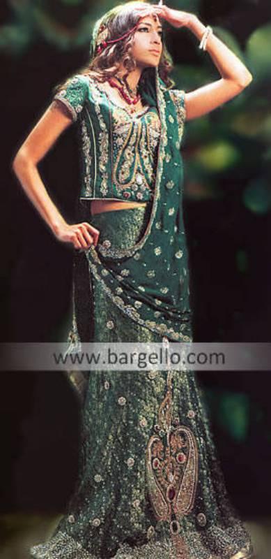 Green Bridal Lehenga Gharara Green Traditional Pakistani Indian Fashion Lehenga