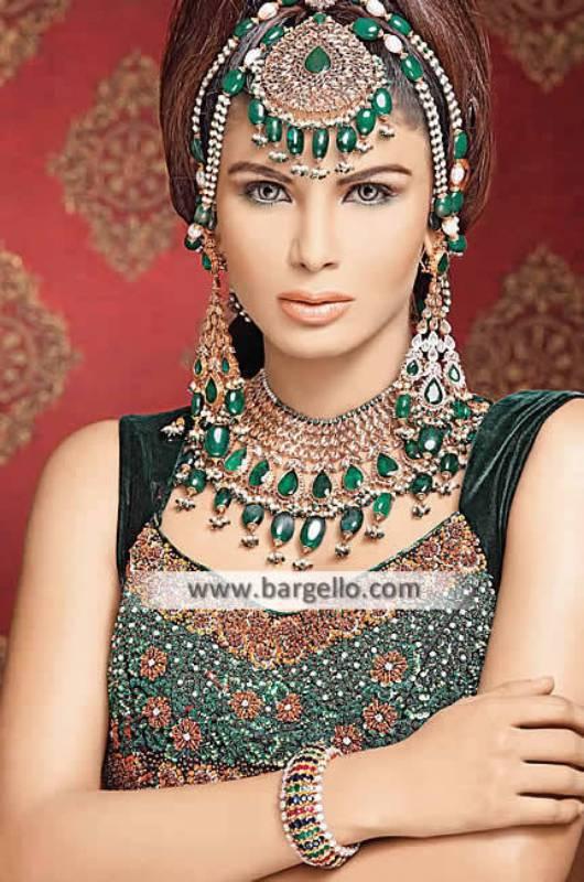 Emerald Stone Designer Bridal Jewellery Sets Boxboro Massachusetts US