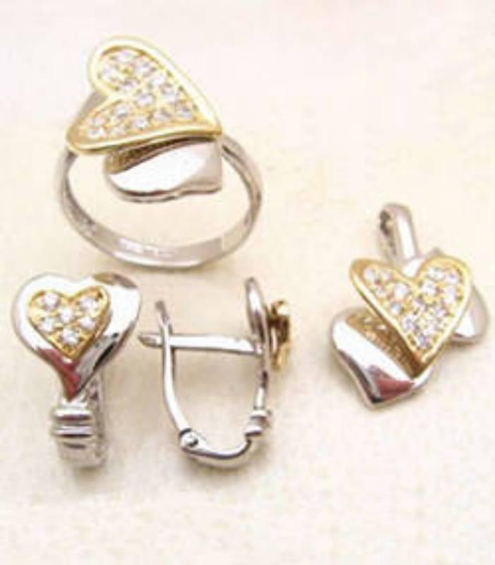 Heart motif white cubic zircons jewellery in UK