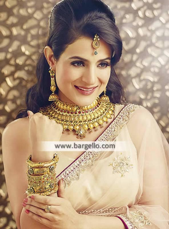 Artificial Polki Choker Set Indian Gold Choker with earring bindiya bridal Jewellery Set