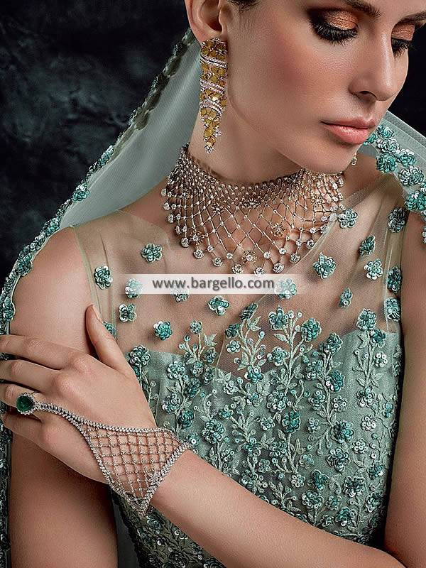 Silver Plated Diamond Choker Set Artificial Diamond Choker with Bracelet and Earrings
